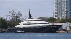 mega yacht luxury ship ALFA NERO 2 - stock footage