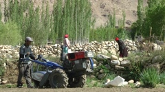 Farmers ploughing fields with small tractor,Likir,Ladakh,India Stock Footage
