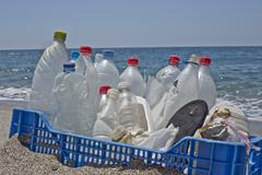 trash in the beach,plastic - stock photo