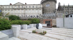 Garda Memorial Garden in Dublin Castle Stock Footage