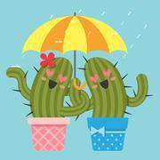the loving couple of cactus under umbrella in the rain - stock illustration