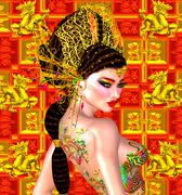 Beautiful Asian woman, dragon tattoo on her back. - stock illustration
