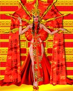 Asian beauty with red and gold fantasy outfit and background - stock illustration
