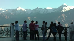 Tourist enjoy view frm Shanti Stupa,Leh,Ladakh,India Stock Footage