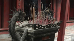 Incense burner at the Temple of Literature in Hanoi Vietnam Stock Footage