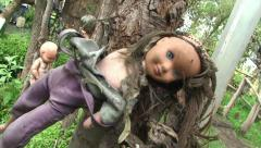 La Isla de la Munecas - Island of the dead Dolls. Xochimilco, Mexico. Stock Footage