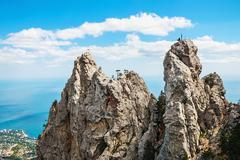 High rocks Ai-Petri of Crimean mountains Stock Photos