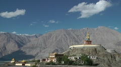Maitreya Buddha statue,Diskit,Ladakh,India Stock Footage