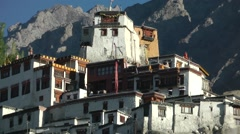 Zoom out of Diskit Monastary,Diskit,Ladakh,India Stock Footage