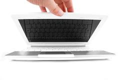 Opening the NetBook - stock photo