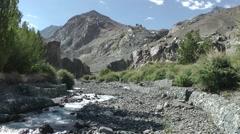 Diskit Monastary with small river,Diskit,Ladakh,India Stock Footage
