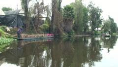 People work and bring Flowers. Xochimilco canals, Mexico Stock Footage