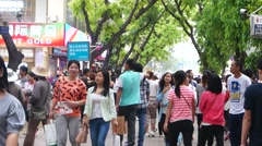 Xixiang Shenzhen commercial pedestrian street landscape, in China Stock Footage