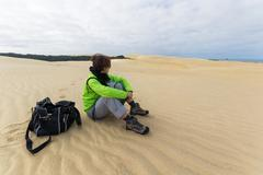 Contemplation on the sand dunes Stock Photos