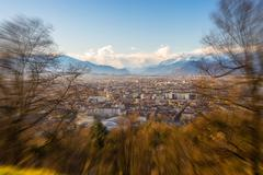 Turin cityscape from above, radial zoom effect Stock Photos