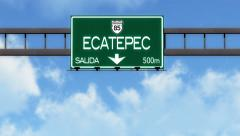 4K Passing Ecatepec Mexico Highway Road Sign with Matte 2 stylized Stock Footage