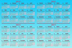 usual calendar for 2014 - 2017 years - stock illustration