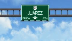 4K Passing Juarez Mexico Highway Road Sign with Matte 2 stylized - stock footage