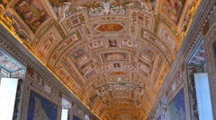 Vatican frescoes.  The ceiling in the corridor, Stock Footage