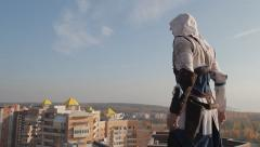 Assassin's Creed On The Roof. Cosplay. Non Color Graded Stock Footage