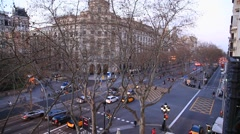 Spain. Barcelona evening, view from the 15 meter height on the street gran via d Stock Footage