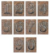Stock Illustration of Metal type numbers isolated