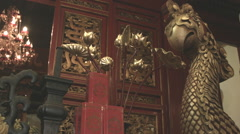 Interior Temple of the Jade Mountain on Sword Lake in Hanoi Stock Footage