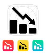 Graph down icon Stock Illustration