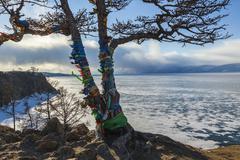 Baikal Lake. Olkhon Island in winter time - stock photo
