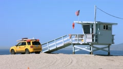 4K, UHD, Lifeguard of Santa Monica, Los Angeles, California, BlackMagic Camera Stock Footage