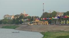 Small boat near boardwalk,Phnom Penh,Cambodia - stock footage