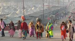 A group of pelgrims go to Sangam for Kumbh Mela,Allahabad,India Stock Footage