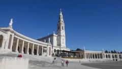 Sanctuary of Fatima. Basilica of Our Lady of the Rosary and colonnade Stock Footage