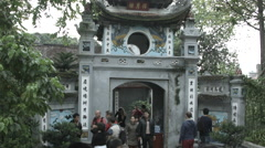 Entrance to Temple of the Jade Mountain on Sword Lake in Hanoi Stock Footage