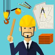 Architect constructor worker at his work place - stock illustration