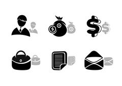 Icons set in black for business and finances Stock Illustration