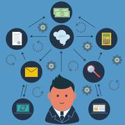 Stock Illustration of Businessman surrounded business activities icons