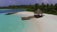 Maldives beach panorama with the house. aerial video. Stock Footage