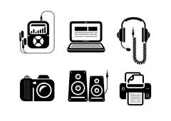 Icons in black for multimedia and office devices Stock Illustration