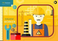 Industrial worker in workwear and helmet - stock illustration