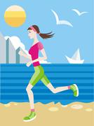 Girl in a sports uniform jogging on beach - stock illustration
