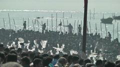 Pelgrims bath at Sangam at 2013 Kumbh Mela,Allahabad,India Stock Footage