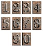 Metal type numbers isolated - stock illustration