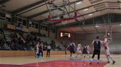 Basketball Game In A Sports Hall, Attack And Shot For Points, Basket Hoop Misses Stock Footage