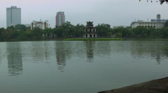 Turtle Tower Pagoda in Sword Lake aka Hoan Kiem Lake in Hanoi Vietnam Stock Footage