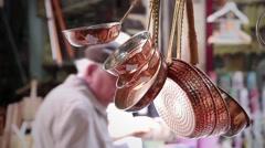 Copper Pans in Grand Bazaar Stock Footage