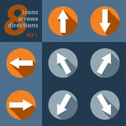 Set of eight icons with arrows in all eight directions Stock Illustration