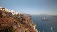 Rise on the elevator from the port of Santorini Stock Footage