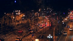 Spain. Barcelona night, view from the 15 meter height on the street gran via de Stock Footage