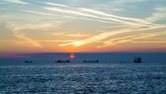 Tanker in the bay of Trieste Stock Photos